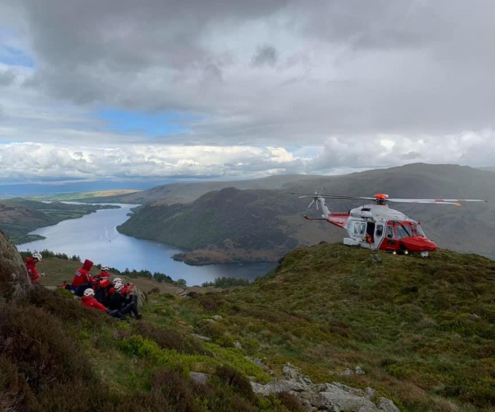 Patterdale Mountain Rescue team with helicopter.